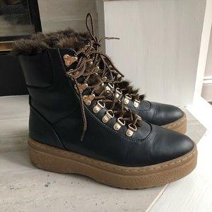 Zara faux fur lace up boots